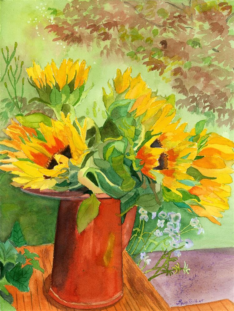"""Sunflowers in Copper"" original fine art by Lynne Reichhart"