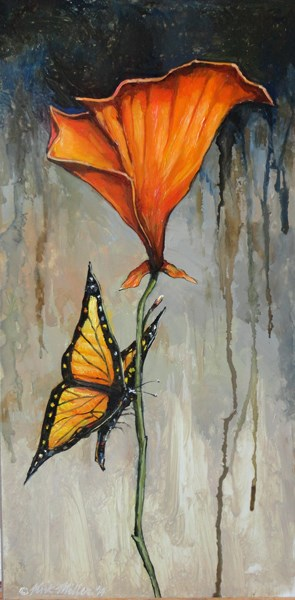 """California Poppy With Butterfly"" original fine art by Kirk Miller"