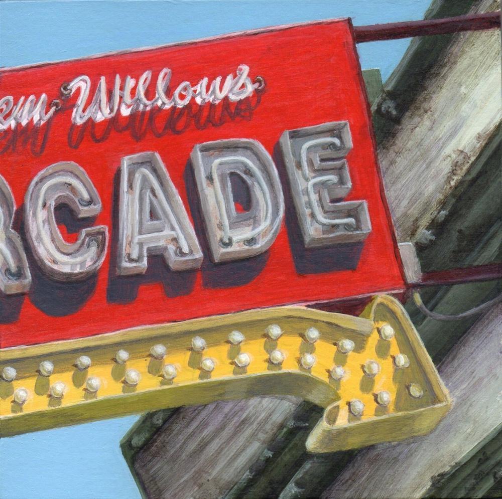 """""""To the Arcade"""" original fine art by Debbie Shirley"""