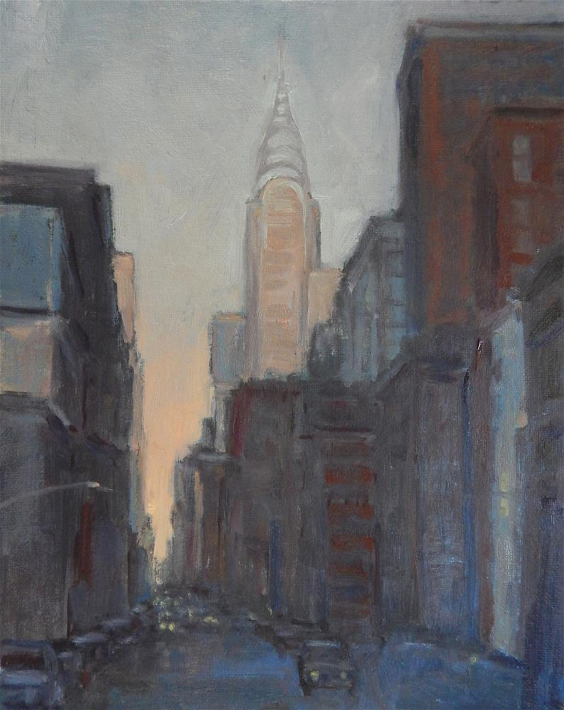 """New York, Gold and Blue"" original fine art by Lisa Kyle"