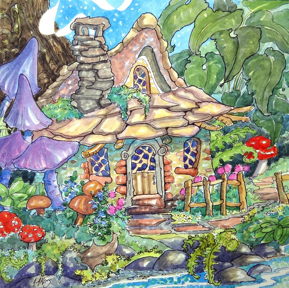 """Tucked Away for Fairies"" original fine art by Alida Akers"