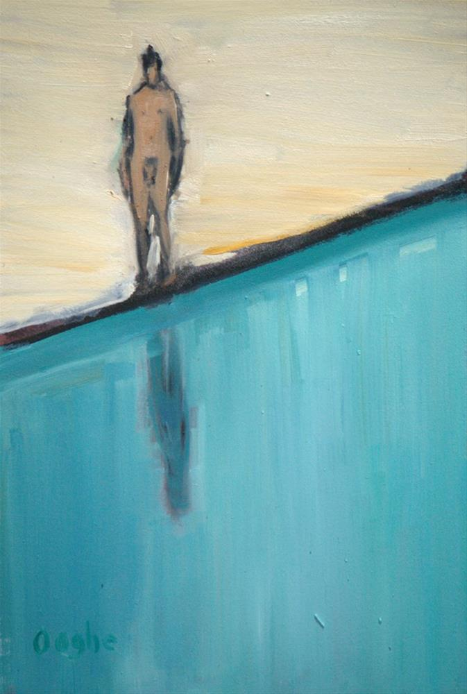 """Man Standing by Pool"" original fine art by Angela Ooghe"