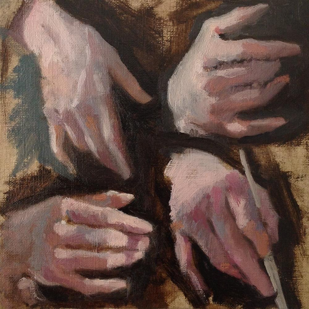 """Four hands"" original fine art by Christine Bayle"