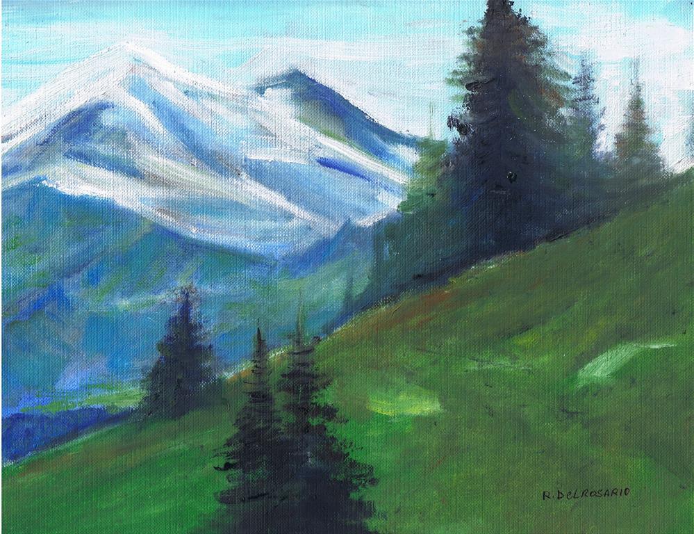 """""""The Far Away Mountain (8 x 10 oil on canvas sheet - no frame"""" original fine art by Ramon DelRosario"""