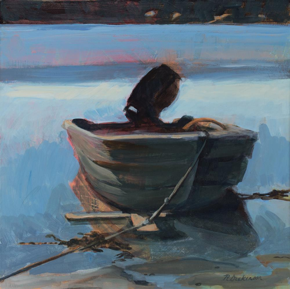 """Dinghy on Outhaul"" original fine art by Nat Dickinson"