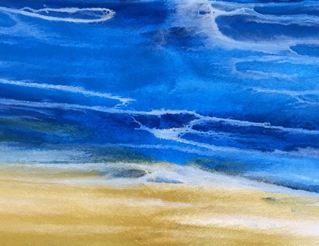 """Contemporary Seascape,Abstract Beach Art, Beach Dreams-Azurean and Gold V by Colorado Contemporary"" original fine art by Kimberly Conrad"