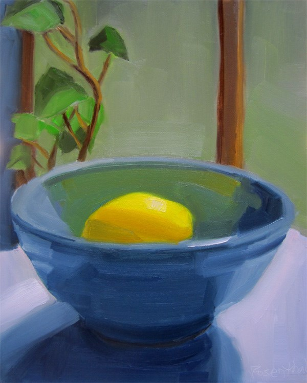 """Blue Bowl and Lemon"" original fine art by Robin Rosenthal"