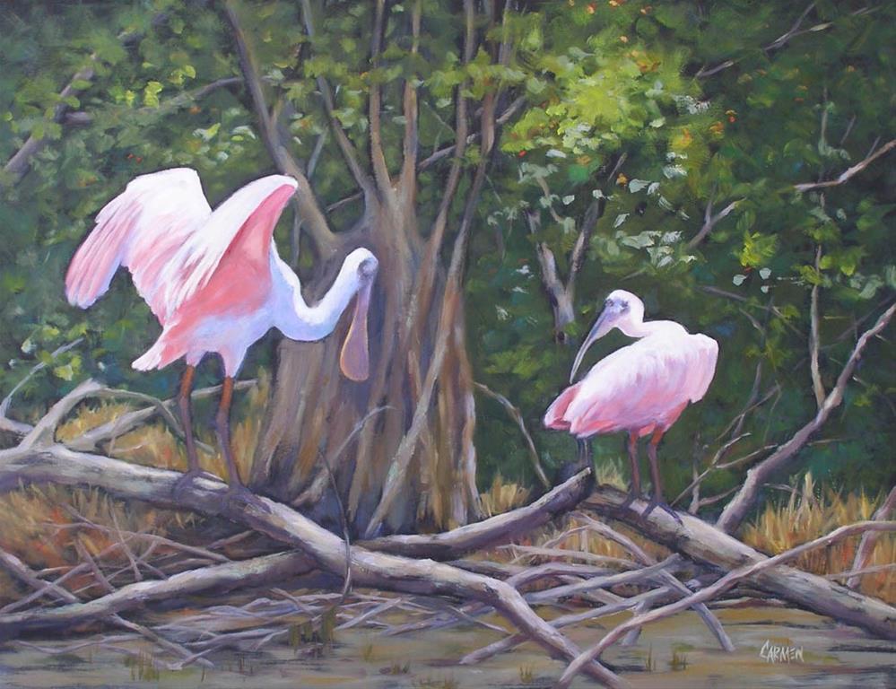 """Everglades Spoonbills, 24x20 Oil on Canvas Wildlife Painting"" original fine art by Carmen Beecher"