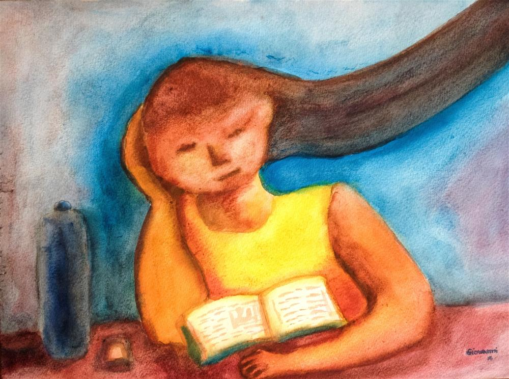 """Reading at the library"" original fine art by Giovanni Antunez"