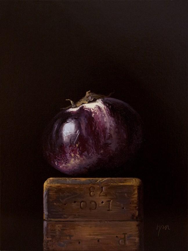 """""""Sicilian Eggplant on a Wood Block"""" original fine art by Abbey Ryan"""