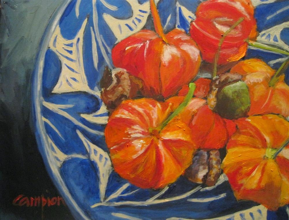 """462 Chinese Lanterns and Oak Leaves"" original fine art by Diane Campion"
