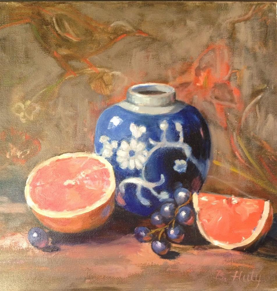 """Pink citrus"" original fine art by Barbara Fluty"