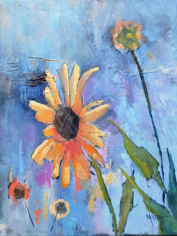 """Sunflower Painting, Daily Painting, Small Oil Painting, 14x18x.75 Oil"" original fine art by Carol Schiff"