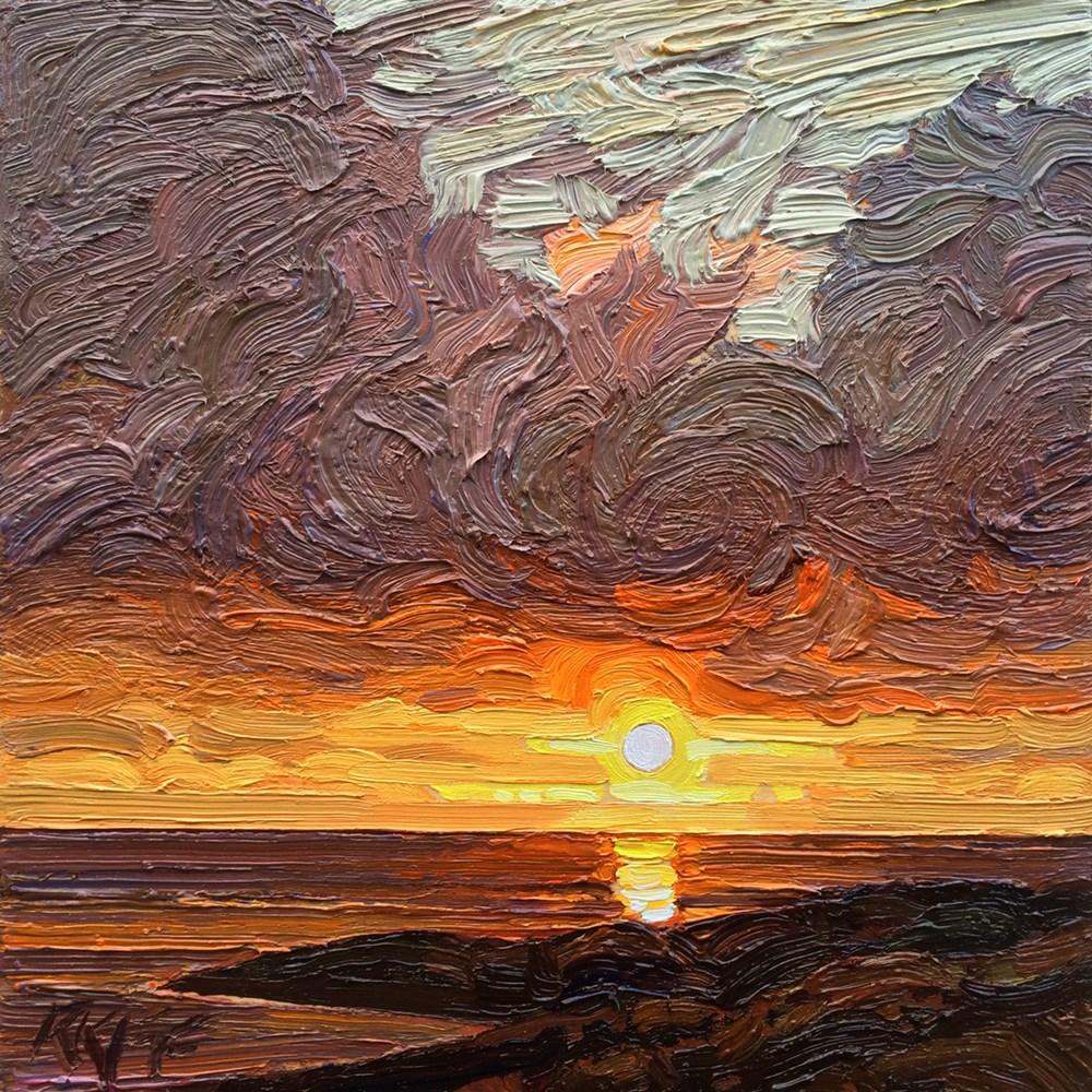 """West Coast Sunset: 6x6 oil on panel"" original fine art by Ken Faulks"