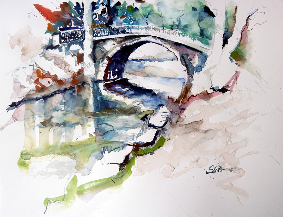 """1426 King George's Garden Bridge"" original fine art by Dietmar Stiller"
