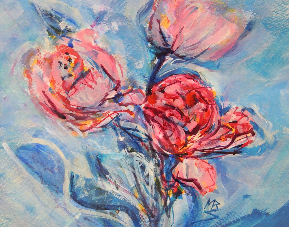 """Pink and Blue 3"" original fine art by Mary Schiros"