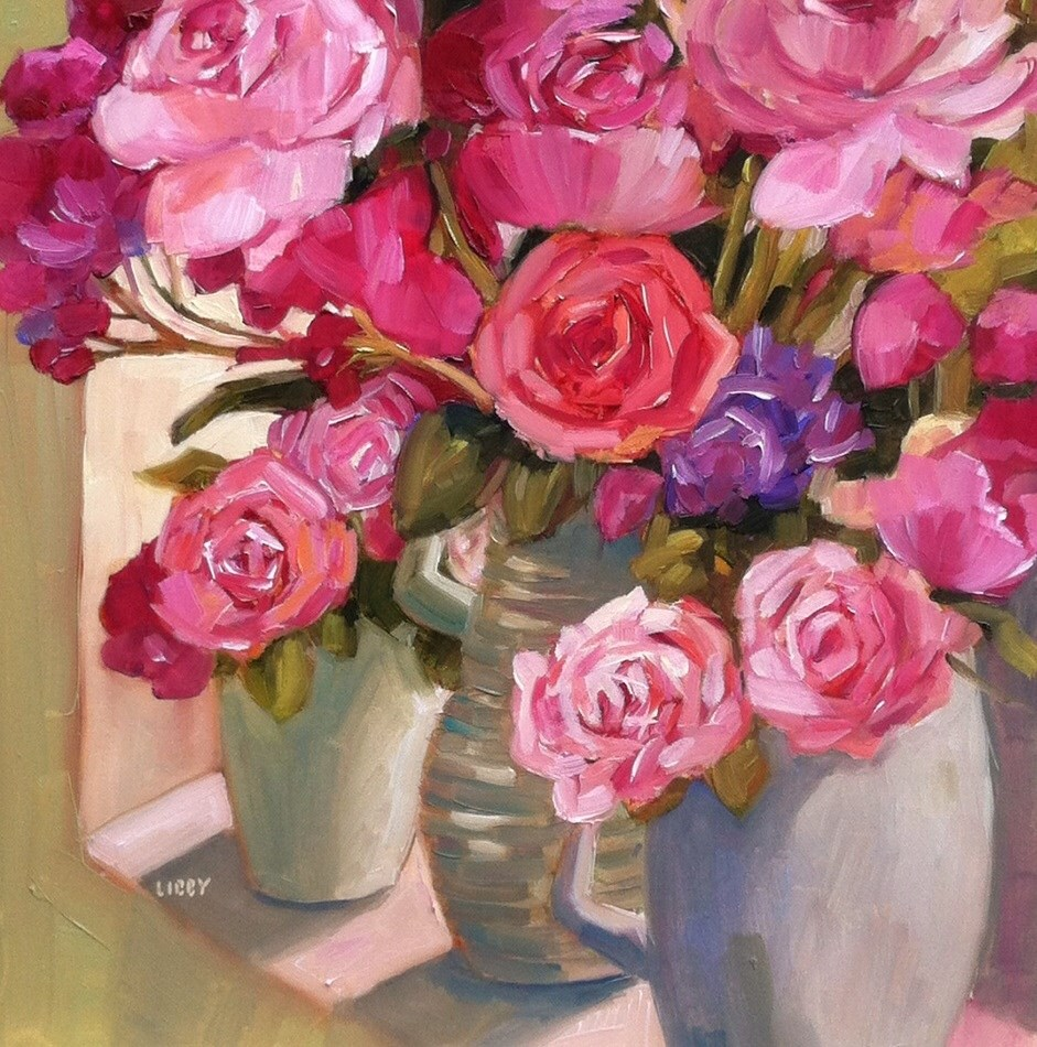 """Rose  Bounty"" original fine art by Libby Anderson"