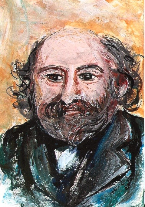 """ACEO Cezanne Portrait in the style of Renoir Miniature Painting Penny StewArt"" original fine art by Penny Lee StewArt"