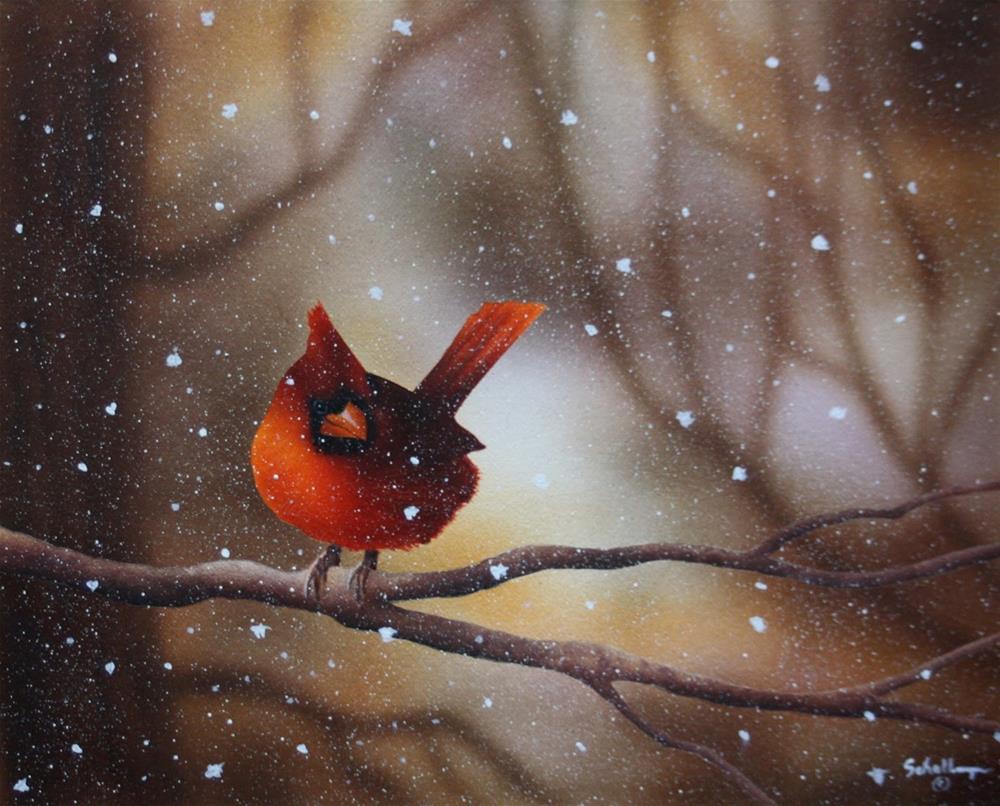 """Cardinal In Winter"" original fine art by Fred Schollmeyer"