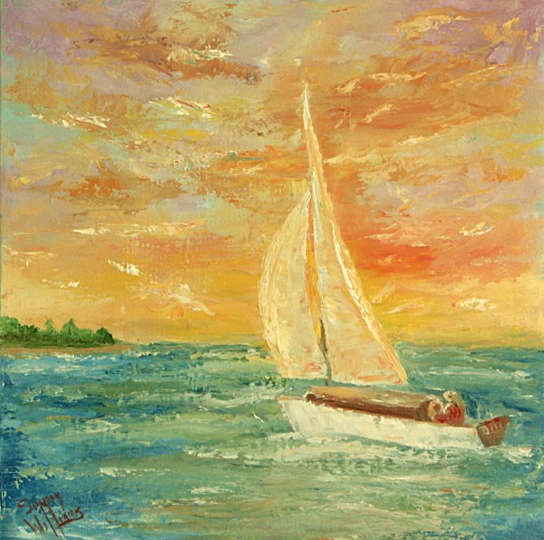 """Sunset Sail"" original fine art by Sunny Williams"