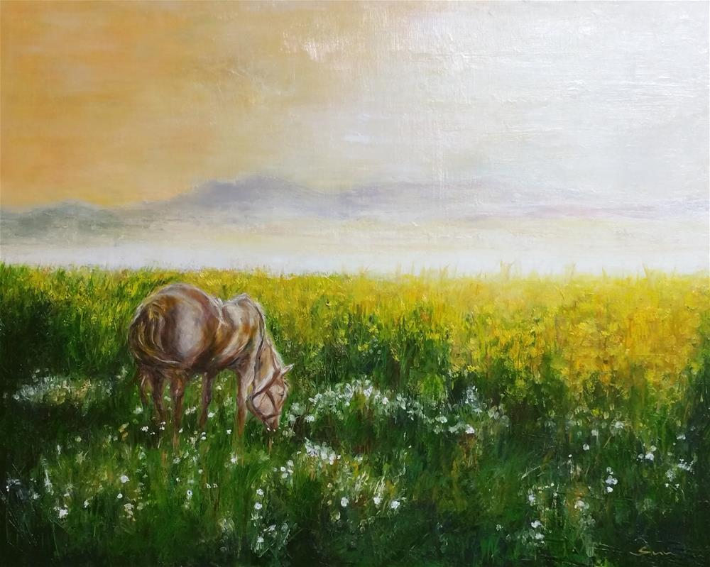 """Horse on yellow meadow"" original fine art by Sun Sohovich"