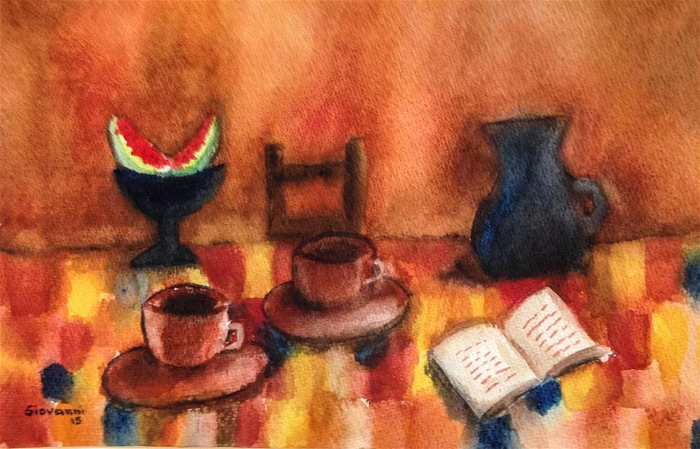 """Good coffee, good book, and watermelon"" original fine art by Giovanni Antunez"