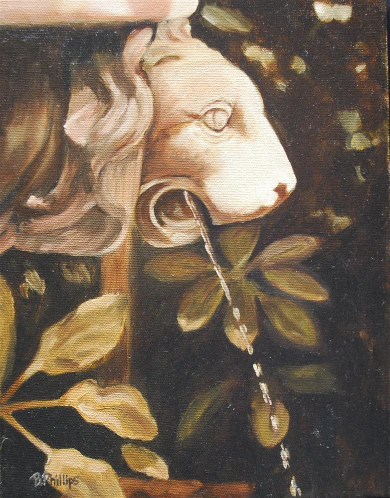"""Lion fountain"" original fine art by Beverley Phillips"