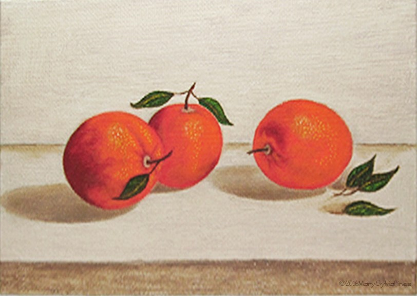 """Oranges 3"" original fine art by Mary Sylvia Hines"