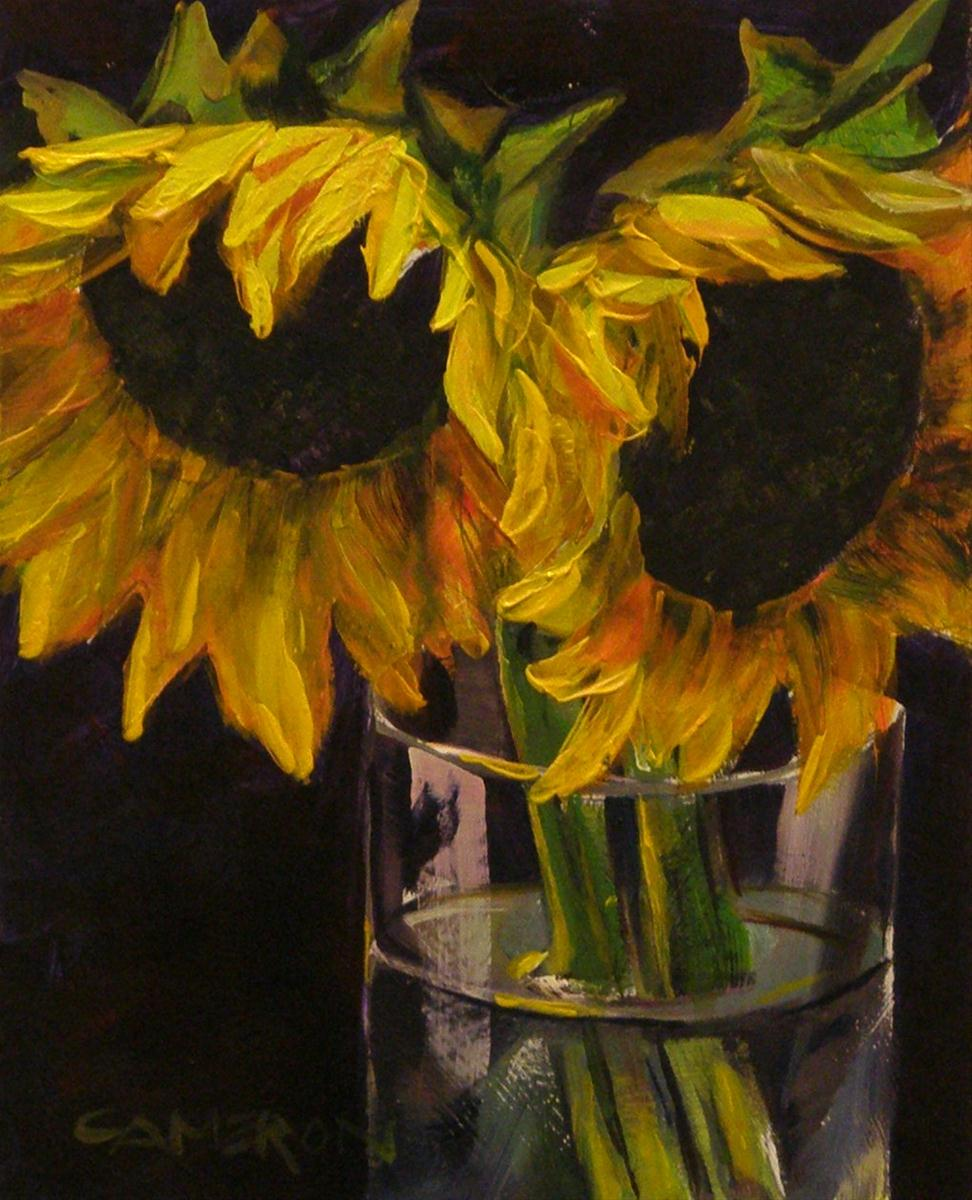 """SUNFLOWERS IN GLASS"" original fine art by Brian Cameron"