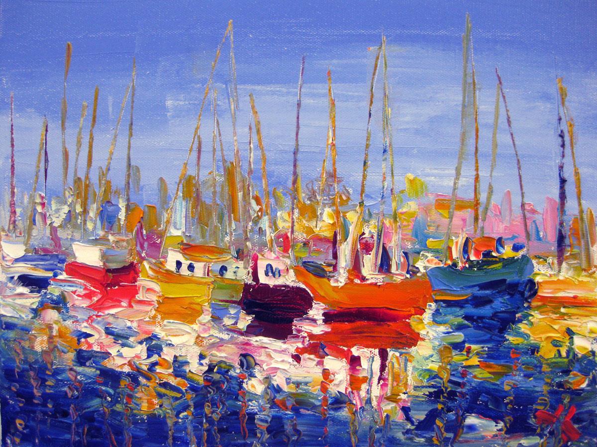 """Fishing Port"" original fine art by Julia Lu"