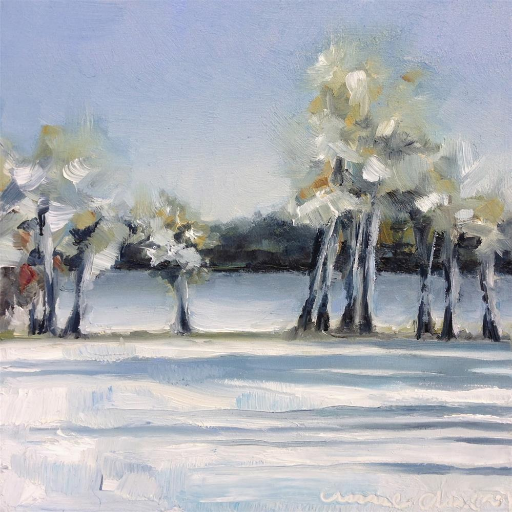 """Frozen Havel River, West Berlin"" original fine art by Anne Ducrot"
