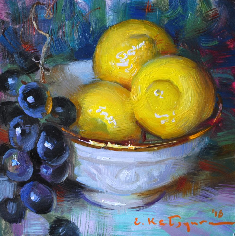 """Grapes and Lemons"" original fine art by Elena Katsyura"