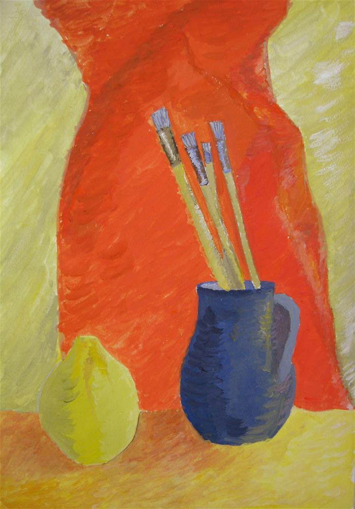 """Bright Still Life Orange Yellow Blue"" original fine art by Alina Frent"