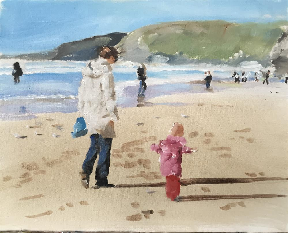 """Beach Scene Cornwall"" original fine art by James Coates"