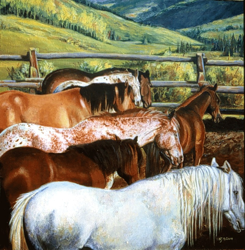 """Original Equine Painting Colorado Rainbow  by Colorado Artist Nancee Jean Busse, Painter of the Am"" original fine art by Nancee Busse"