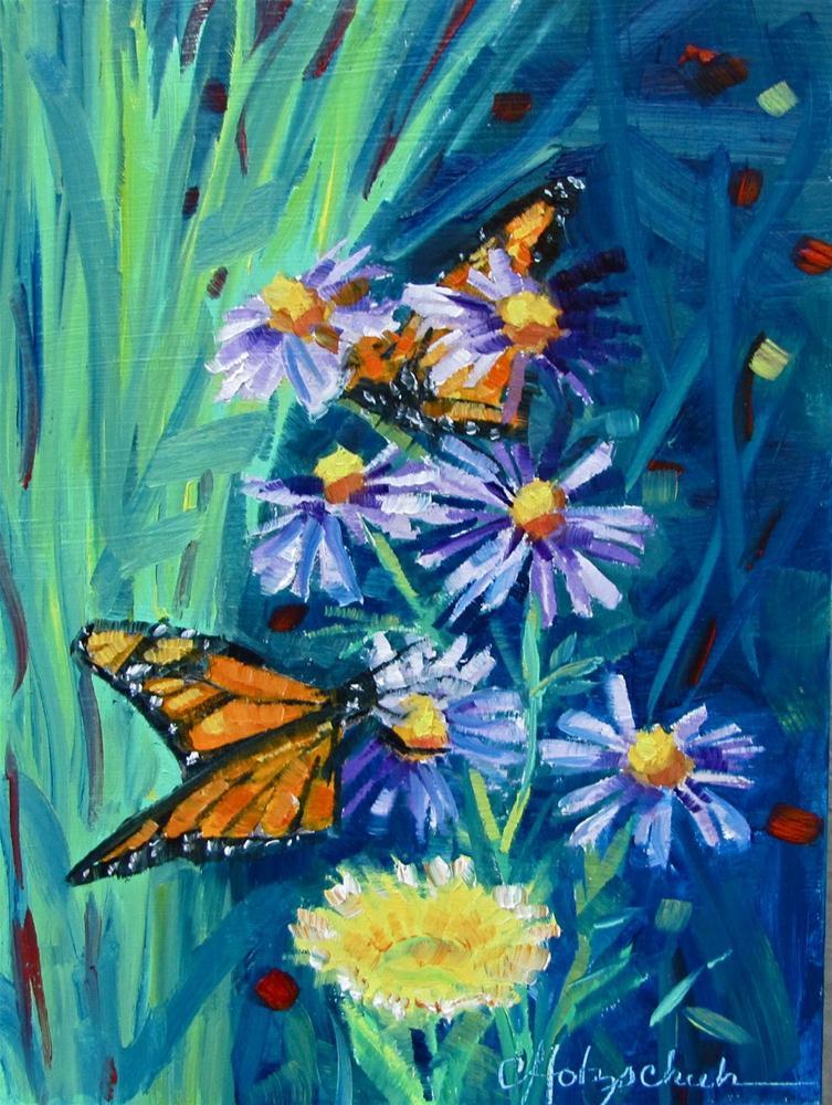 "Peek-A-Boo Butterfly  5""x7""  oil $100 original fine art by Christine Holzschuh"