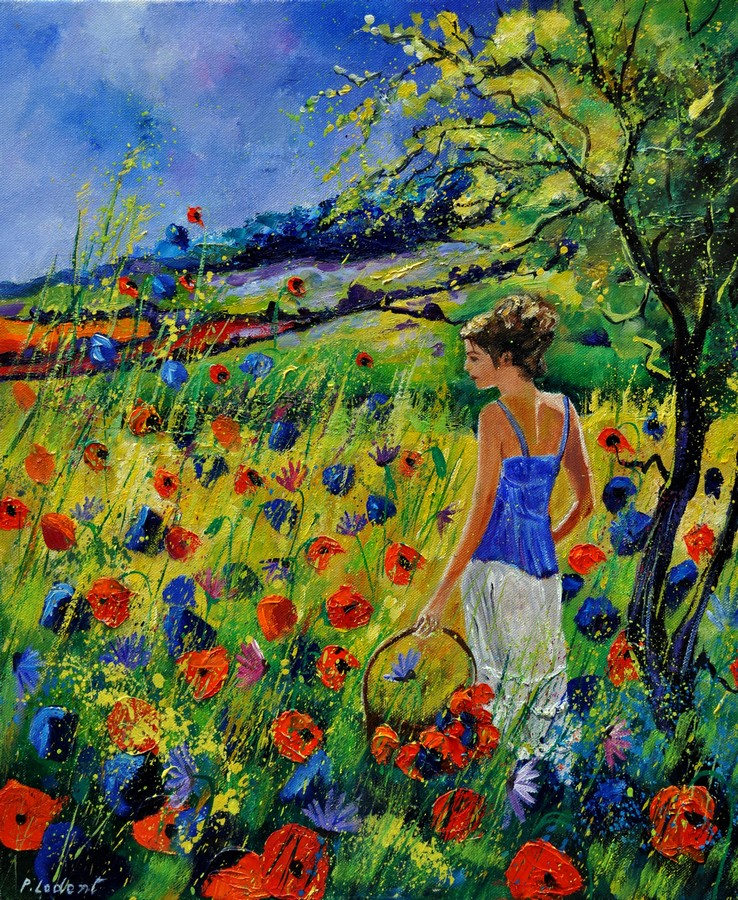 """summer walk 67"" original fine art by Pol Ledent"