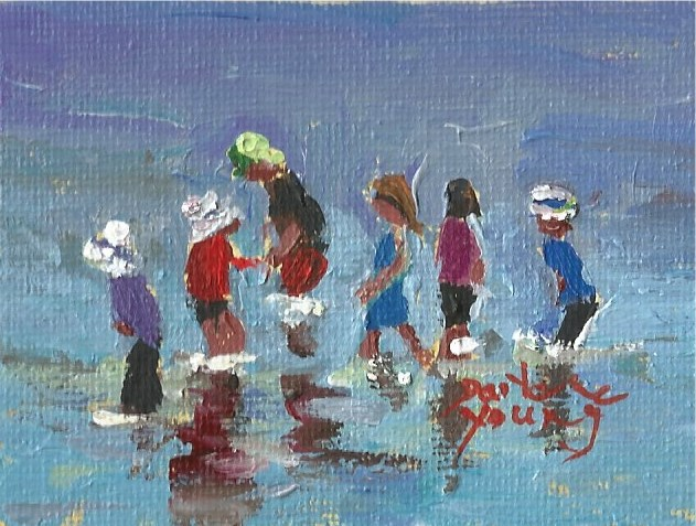 """940 Beach Kids, miniature 2.5x3.5, oil on board"" original fine art by Darlene Young"