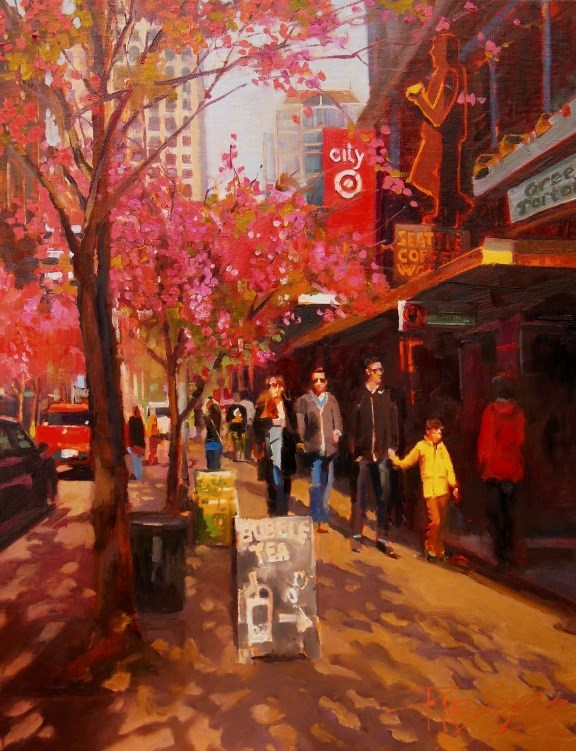 """Spring in Seattle Seattle, cityscape by Robin Weiss"" original fine art by Robin Weiss"