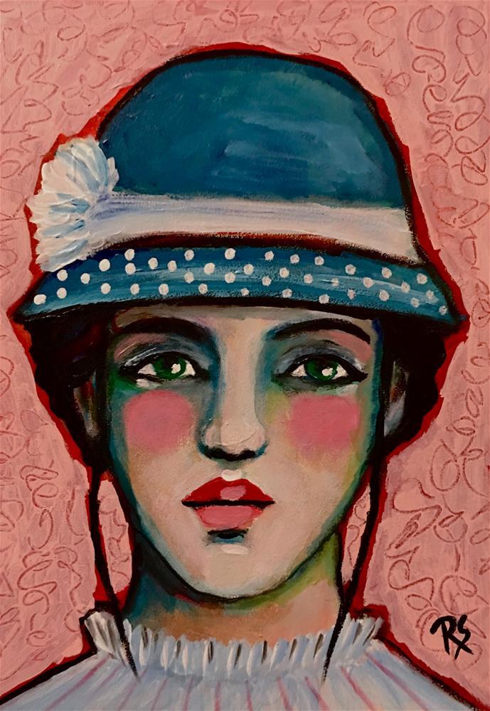 """Janie and Her Polka Dots"" original fine art by Roberta Schmidt"