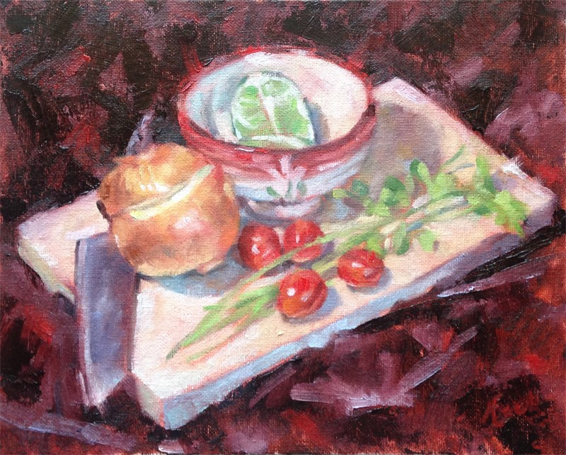 """Cherry Tomatoes, Onion, Cilantro Lime"" original fine art by Audra Esch"