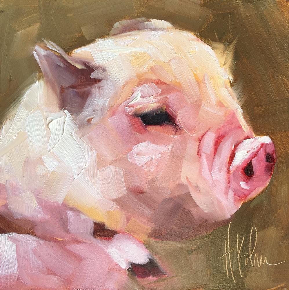 """Piggy 2"" original fine art by Hallie Kohn"
