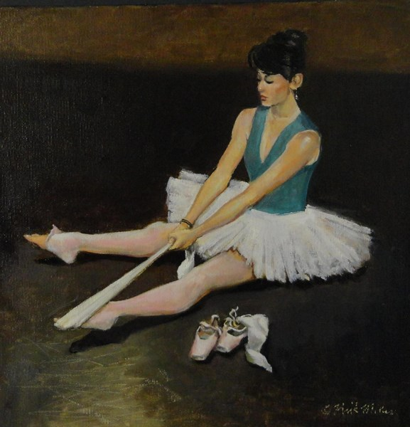 """Stretching"" original fine art by Kirk Miller"