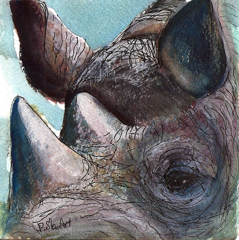 """""""4x4 Rhino Up Close and Personal Watercolor, Pen and Ink by Penny Lee StewArt"""" original fine art by Penny Lee StewArt"""