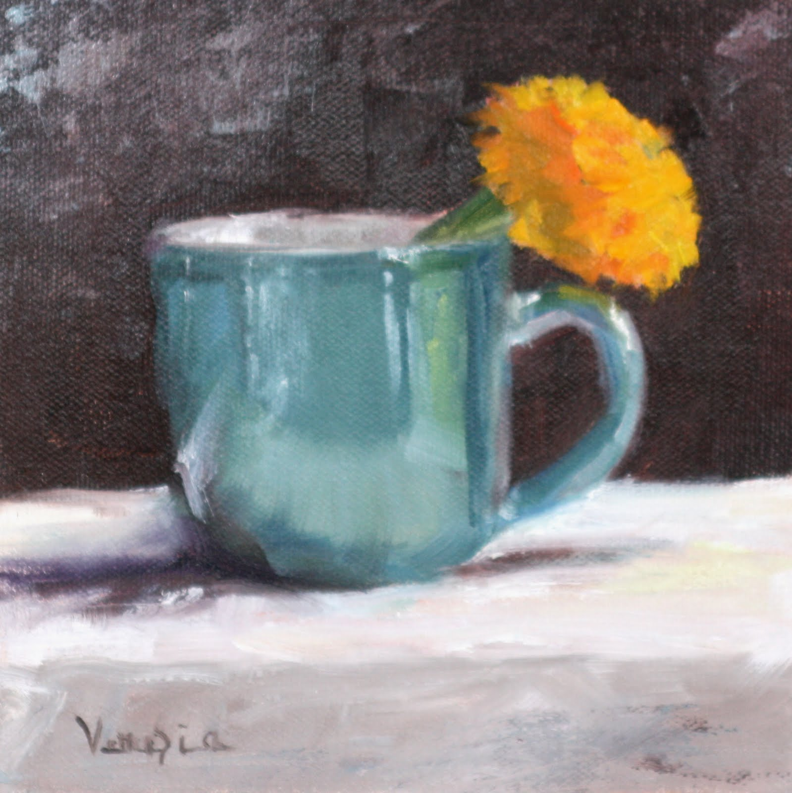 """""""Oil Painting Still Life with Blue Cup and Marigold"""" original fine art by Carrie Venezia"""