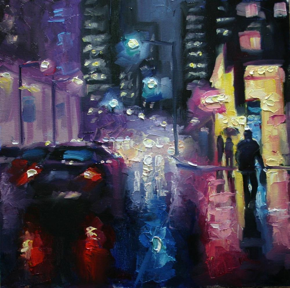 """Night Rain at King and York"" original fine art by Catherine Jeffrey"
