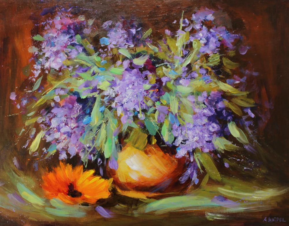 """Original lilac floral flower bouquet painting"" original fine art by Alice Harpel"