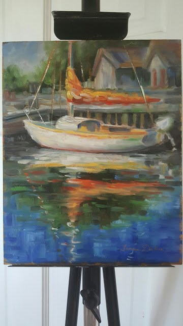 """Orange Sail Cover"" original fine art by Tammie Dickerson"