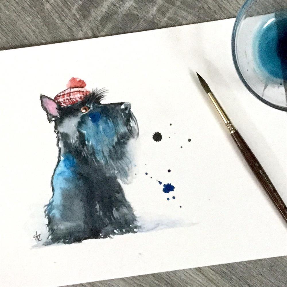 """Scottish Terrier"" original fine art by Christy Obalek"