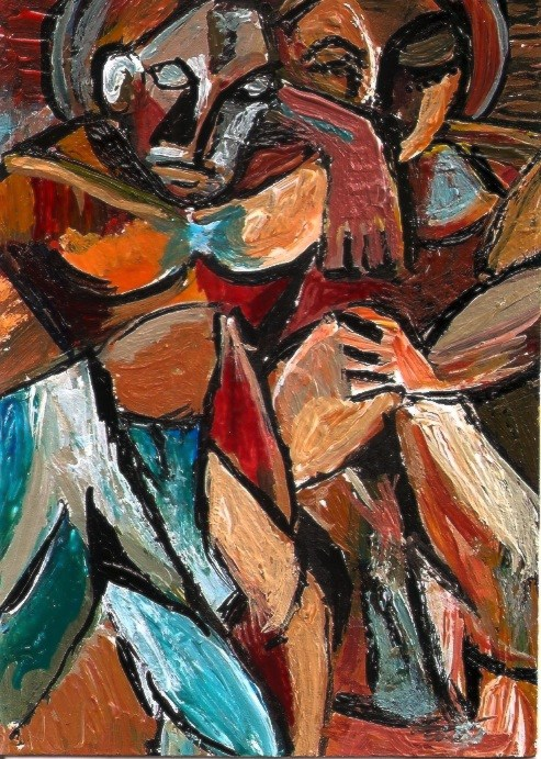 """""""ACEO Friendship Picasso Style Cubism Abstract Miniature Masters Penny StewArt"""" original fine art by Penny Lee StewArt"""